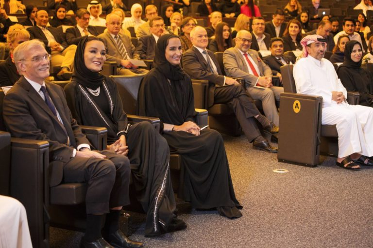 Sheikha Moza and other dignitaries attending an event at GU-Q